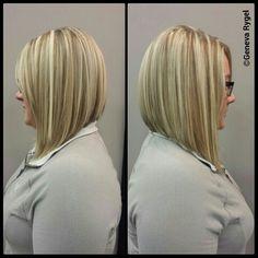 #angled bob #graduated bob #inverted bob #blonde highlights created by geneva Rygel