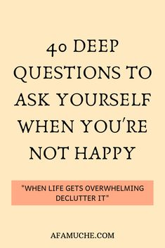 40 Deep questions to ask yourself when you're not happy 40 Questions To Ask Yourself For Personal Growth, which helps maximize the benefits of every day self reflection to know who you really are. Deep Questions To Ask, Personal Questions, 100 Questions, This Or That Questions, Journal Prompts, Journal Topics, Self Care Activities, Self Improvement Tips, Self Development