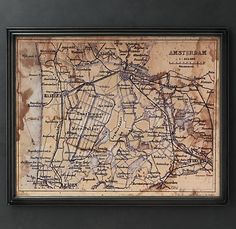 circa 1894 Amsterdam map--- way cute to collect old city maps where you've been and frame em!