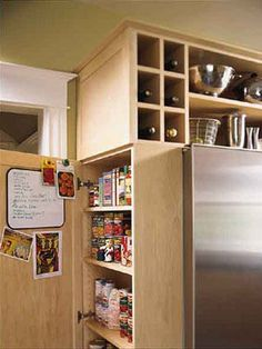 Love the shallow shelves making use of that extra space beside the fridge! The outside of the door would make a good communication station! Kitchen Redo, Kitchen And Bath, Kitchen Storage, Kitchen Dining, Kitchen Remodel, Kitchen Ideas, Kitchen Stuff, Kitchen Upgrades, Kitchen Makeovers