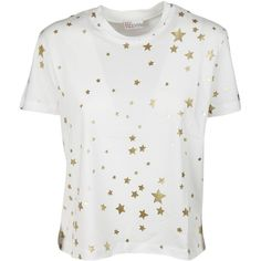 Star Print T Shirt ($126) ❤ liked on Polyvore featuring tops, t-shirts, white, short sleeve tops, metallic top, white tee, star tee and metallic tee
