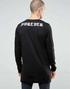 Image 2 of ASOS Longline Long Sleeve T-Shirt With Distressed Hem And Fearless Print