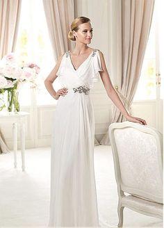 Elegant Charming Chiffon  Satin Sheath V-neck Neckline Natural Waist Wedding Dress
