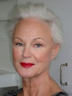 Amazing how bright red lipstick can look so great on some mature women - Grethe Kaspersen