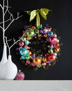 Holiday Ball Wreath Retro styling gives this colorful ornament wreath a bit of mid-century flair. Holiday Wreaths, Christmas Tree Ornaments, Holiday Crafts, Christmas Decorations, Outdoor Decorations, Ball Ornaments, Holiday Decor, Diy Wreath, Ornament Wreath