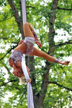 Aerial silk dancing