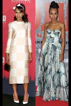 Kerry Washington in Vuitton (left) and Rochas (right). She is quickly becoming my favorite stylish actress.