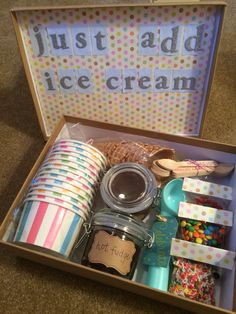 ice cream sundae in a box! perfect for a summertime surprise!