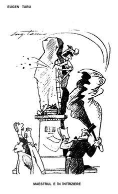 """MAESTRU E IN INTIRZIERE"".  Caricatura de EUGEN TARU, publicata in almanahul PERPETUUM COMIC '97 editat de URZICA, revista de satira si umor din Romania"