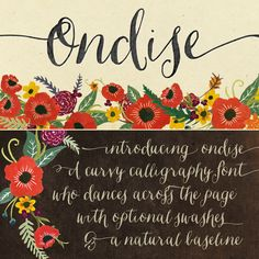 Ondise calligraphy font by Magpie Paper Works