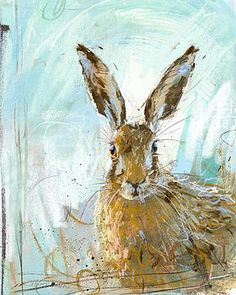 Love how the energy of the brushstroke and varied color reflect the energy of a hare who has just spotted potential danger and is ready to bolt! Limited Edition Brown Hare Print by The Estate Yard. Watercolor Animals, Watercolor Art, Lapin Art, Rabbit Art, Ouvrages D'art, Bunny Art, Art Et Illustration, Fauna, Animal Paintings