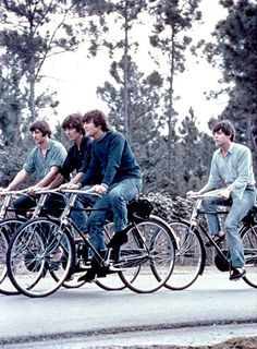 the beatles on bicycles. what more could a girl ask for?