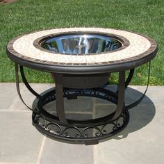 Alfresco Home Umbria 36-Inch Mosiac Fire Pit & Beverage Cooler Table ($1,389) ❤ liked on Polyvore featuring home, outdoors, outside fire pit, stainless steel outdoor fire pit, stainless steel fire pit, patio fire pits and fire bowl