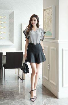 Back Ribbon Detail Angel Sleeve Stripe Blouse Korean Women's Fashion Shopping Mall, Styleonme. Korean Fashion Trends, Korean Street Fashion, Asian Fashion, Fashion Models, Girl Fashion, Fashion Outfits, Fashion Design, Fashion Tips, Fashion Quotes