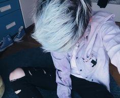 Pastel goth boy. Cute boys, blue hair, pastel hair