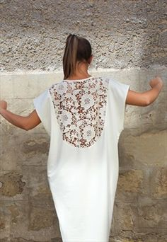Off white Maxi Elegant with Off white lace back dress