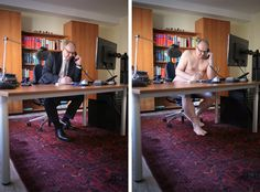 Berlin-based artist Sophia Vogel photographs real people doing everyday things in the buff.