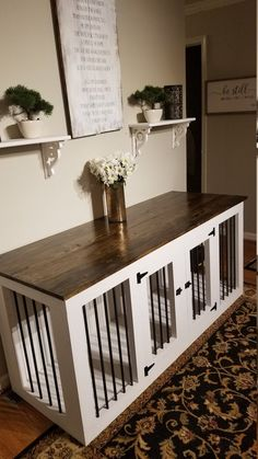 Large Wooden Double Dog Kennel Dog Crate: This handmade decorative dog crate functions as a gorgeous piece of furniture and is a great alternative to the traditional ugly dog crate.