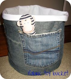Turn old jeans into storage for toys.