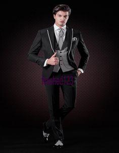 2fe4d09ed87 Click to Buy    Handsome One Button Black Groom Tuxedos Groomsmen Men s  Wedding.