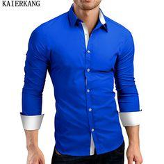 KAIERKANG Men Shirt Brand 2017 Male High Quality Long Sleeve Shirts Casual Hit Color Slim Fit Black Man Dress Shirts 4XL #Affiliate