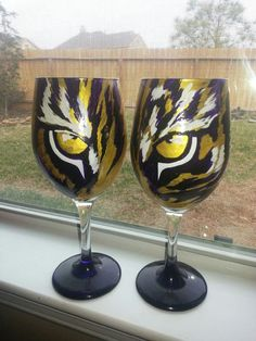 LSU Tigers Hand Painted wine glasses set by HollysBerries on Etsy, $25.00