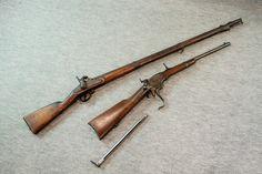 "Geberu gun (top) Spencer seven volley cavalry gun (below)"", used by samurai during the late Edo period."