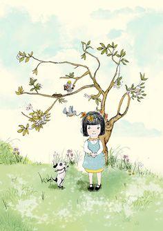 My Lovely Tree Seasonal Set Girl Art Holli Nursery by holli