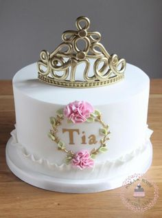1st birthday cake with fondant no 1 tiara by Sara's House of Cupcakes