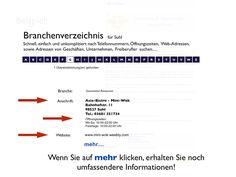 Beispiel eines Eintrage im Branchenverzeichnis
