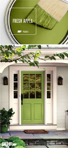 Looking for an easy way to add a burst of bright color to the exterior of your home? Check out BEHR's Color of the Month: Fresh Apple. This modern green hue shines when paired with soft creams and light grays. Try painting your front door with this bright Green Front Doors, Painted Front Doors, Front Door Colors, Bright Front Doors, Yellow Doors, Exterior Paint Colors For House, Paint Colors For Home, Exterior Colors, Gray Exterior