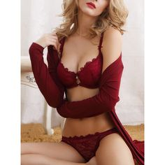 SheIn(sheinside) Push-Up Lace Bra Set ($18) ❤ liked on Polyvore featuring intimates, burgundy, sexy lingerie, burgundy lingerie, lace lingerie, lacy lingerie and push up lingerie
