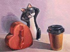 "'Valentine Cat' by Edi Matsumoto | $250 | 12""w x 9""h | Original Art | http://www.arttwo50.com/buy/art/valentine-cat"