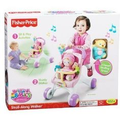 Fisher Price Stroll Along Walker by FISHER PRICE. $49.99. My Stroll and play walker is perfect to steady baby's first steps. When your baby is ready for the new world of walking, this sturdy stroller is ready to lend support. The wide base and easy-grasp handle help steady her first steps, while adorable stroller styling encourages early role play and nurturing. See the wiggly bear riding on the stroller handle? Your baby can press its tummy for musical rewards, or enjo...