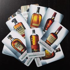 Deck of bourbon cards I shot for @marriotthotels , designed by D*MNGOOD. Each card contains a fascinating story about the bourbon and key characteristics of its profile. I like the light, color and translucency of #bourbon.   Photo by Renée Comet: http://www.cometphoto.com  #foodphotographer #foodphotography #advertisingphotography