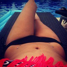 Pierced hips possibly in my future 😍 Hip Dermal Piercing, Peircings, Belly Rings, Bikinis, Swimwear, Body Art, Fancy, Tattos, My Style