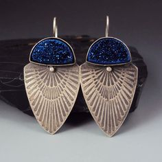 Titanium Blue Druzy Etched Earrings by danaevansstudio on Etsy