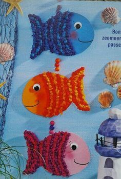 Vis met propjes papier - image only Kids Crafts, Summer Crafts, Arts And Crafts, Paper Crafts, Under The Sea Theme, Ocean Crafts, Ocean Themes, Animal Crafts, Elementary Art