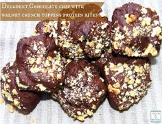 Decadent Chocolate Chip With Crushed Walnut Topping Protein Bites (gluten-free) http://mamato5blessings.com/2014/03/wholesomecravings/