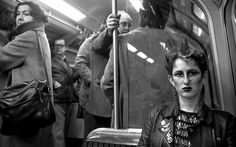 London Underground in the 1970s/80s. A punk girl in the late 1970s. By Bob Mazzer