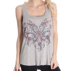Grey Studded Tank Lightweight top with pretty detailing. Cute and comfy. Available in sizes XS, S, L, XL and XXL. This item is available. Tops Tank Tops