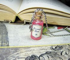 Mermaid+Blood+2ml+Glass+Bottle+Necklace++Cork+Vial+by+RedQueenMisc
