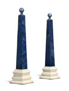 A PAIR OF LAPIS LAZULI AND MARBLE OBELISKS BY TOSCO TICCIATI, TUSCANY - Dim: 33 in. (84 cm.) high; 7 3/4 in. (19.5 cm.) squuare.