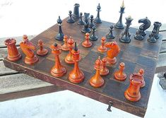 Old vintage soviet chess set made 5 of August 1953.  Made in the Mordovian Autonomous Soviet Socialist Republic.  Yavas township. Plant №5.