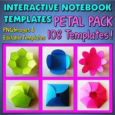 Interactive Notebook Templates - Easy to Cut Petal Pack - 108 Templates! Bullet Journal Books, Book Journal, Science Notebooks, Interactive Notebooks, Lap Book Templates, Templates Free, Math Classroom, Classroom Tools, Classroom Projects