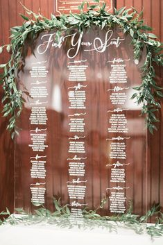 """Modern affair: Acrylic wedding decor and ideas. """"Find your seat"""" wedding seating… Modern affair: Acrylic wedding decor and ideas. """"Find your seat"""" wedding seating chart on perspex sign embellished with greeneries. Seating Arrangement Wedding, Wedding Table Seating, Wedding Signage, Wedding Reception Decorations, Wedding Fun, Wedding Things, Dream Wedding, Table Seating Chart, Floral Wedding Cakes"""