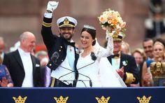 The newlyweds outside the Royal Palace