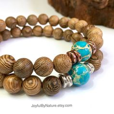 Earth & Ocean Unisex Bracelets -  Richly grained wenge wood with Earth-like sea-sediment jasper  —A jewelry gift designed and handmade with a bit of the Earth and its energy.    •Copper or silver accents •Boxed for giving with original gift card