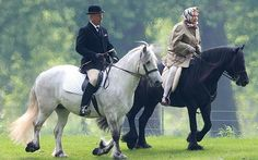 telegraph:  While King Juan Carlos of Spain, 76, announced his decision to abdicate after 39 years on the throne, Queen Elizabeth, 88, spent the 61st anniversary of her coronation by going for a pony ride at Windsor, July 2, 2014.  She is pictured here on fell pony Carltonlima Emma, with stud groom Terry Pendry.  The only concession to her age has been to switch to ponies to ease her knee pain.