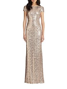 Badgley Mischka - Sequin Cowl-Back Gown